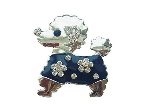 lordies Brosche Magnetbrosche Schal Clip Bekleidung Poncho Taschen Stiefel Hund Pudel Dunkel Blau Strass