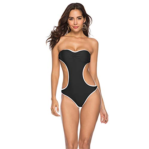 Bademode Badeanzüge für Frauen vertuschen einteiliger Bikini, ohne Träger Bikinis (Farbe : Schwarz, Größe : M)