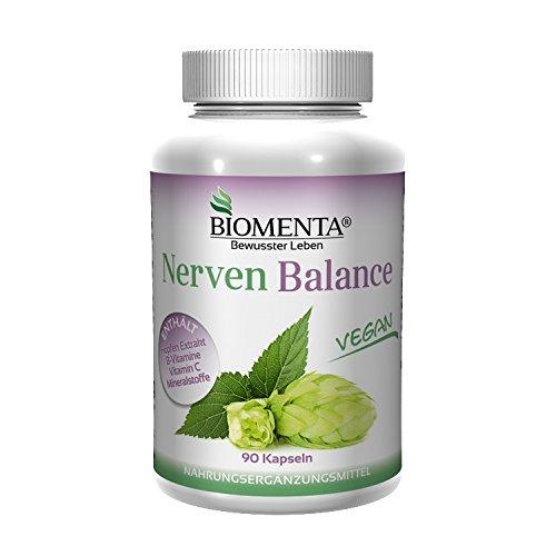 Nerven-system (BIOMENTA NERVEN BALANCE | mit HOPFEN + VITAMINE UND MINERALSTOFFE | 3 Monatskur | VEGAN | 90 Nerven-Kapseln)