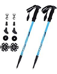 Songmics Trekkingstöcke Wanderstöcke Nordic Walking Stöcke Verstellbar 65 - 135 cm ergonomisch mit Anti-Shock Dämpfungssystem