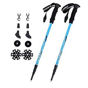 SONGMICS Unisex Adult Wanderstöcke Trekkingstöcke Walkingstöcke 65-135 cm ergonomisch mit Anti-Shock Dämpfungssystem laufstock SAS60Q, Blau, 65-135CM