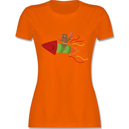 Weihnachten & Silvester - Lebkuchenmann lachend auf Rakete - tailliertes Premium T-Shirt mit Rundhalsausschnitt für Damen Orange