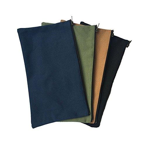 4er-Pack Werkzeugbeutel mit Reißverschluss, aus 100 % Baumwolle, 470 ml Fassungsvermögen, multifunktional, Organizer für Geräte und Werkzeuge HGJ02, Mehrfarbig