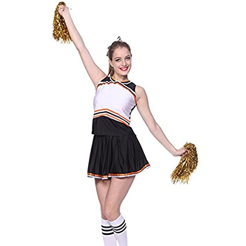 Halloween Cheerleader Costumes Adultes - MABOOBIE Debardeur Jupe Plissee Bi-ton Contrast Deguisement