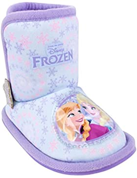 Ragazze Primi Passi Disney Frozen Elsa Anna Olaf Pantofola A Stivale Babuccia Fur Fiocco di neve Blu/Rosa Lilla...