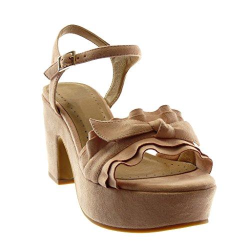 Fibbia con Angkorly cm Blocco Sandali Volant Rosa Tacco Scarpe Alto Moda Decollete 5 con Nodo a Alla con Zeppe Caviglia Cinturino Donna Tacco 8 IwqCZw