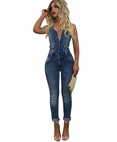 TieNew Damen Jeans-Latzhose mit Dekorativen Waschungen,Damen Jeans-Latzhose   Denim Boyfriend-Cut im Stone Washed Look und Used-Look Damen Jeans Hose Boyfriend Latzhose Jumpsuit Overall