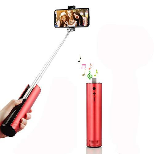 Bluetooth selfie stick, sendowtek 2 in 1 altoparlante bluetooth allungabile portatile selfie stick mini altoparlanti wireless di viaggio per iphone e altri smartphone android