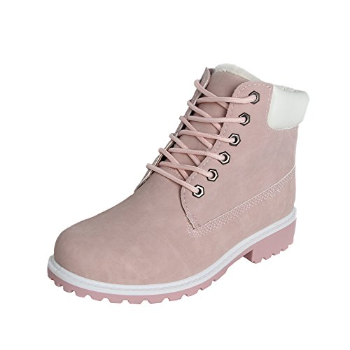 Damen Worker Boots Plüsch mit Gefütterte Winterstiefel warme Stiefel Schöne Prinzessin Rosa,Eu 36 = 23 cm