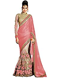 Active Women's Lycra & Net Fabric Embroidered Lace Border Half & Half Saree (Peach)