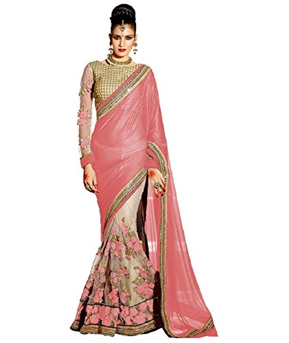 Active Feel Free Life Women's Net Saree With Blouse Piece (Savi1538-Ac,Peach,Free Size)