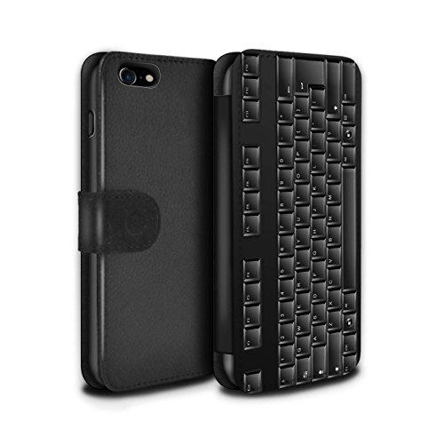 STUFF4 PU-Leder Hülle/Case/Tasche/Cover für Apple iPhone 8 / Tastatur Muster / Schaltfläche/Tasten Kollektion Tastatur