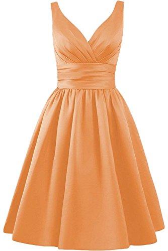 Victory Bridal Rot Einfach Traeger V-ausschnitt Satin Abendkleider Brautjungfernkleider Partykleider Promkleider Kurz Orange