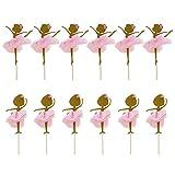 STOBOK 12 STÜCKE Gold Glitter Ballerina Tanzen Mädchen Cupcake Toppers Picks für Hochzeit Brautdusche Geburtstag Party Dekoration