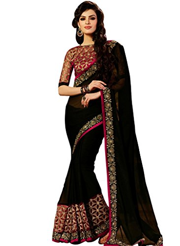 Alka Women's Black Colour Georgette Fabric Embroidered Border Work Saree  available at amazon for Rs.796