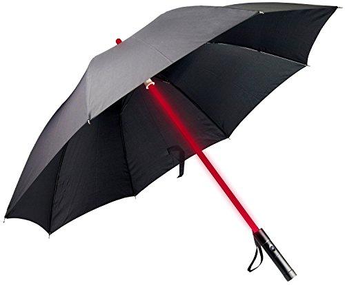 """LED Regenschirm im """"Laserschwert"""" Design mit 7 Leuchtfarben - Schwarz - Langschirm Griff Inkl. Taschenlampe - Grinscard"""