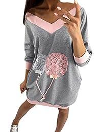 5e99f5a046f9 Mode Sweatshirt Kleid Damen, DoraMe Frauen V-ausschnitt Locker Bluse Mini  Kleider Lässig T