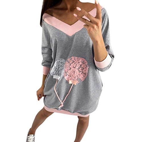 Mode Sweatshirt Kleid Damen, DoraMe Frauen V-ausschnitt Locker Bluse Mini Kleider Lässig T-shirt Lange Pullover (Grau, M) (T-shirt Kleid Europäische)