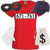 Shirt-Panda Damen T-Shirt Panzerknacker Kostüm + Cap + Maske + Handschuhe Verkleidung Karneval SET06 T-Shirt/Cap/Maske/Handschuhe/Beutel XL