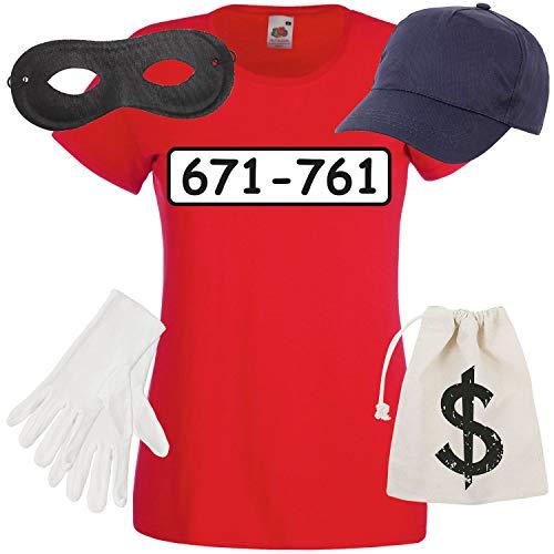 Shirt-Panda Damen T-Shirt Panzerknacker Kostüm + Cap + Maske + Handschuhe Verkleidung Karneval SET06 T-Shirt/Cap/Maske/Handschuhe/Beutel (Verbrecher Kostüm Weiblich)