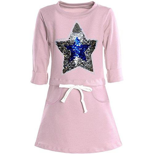 BEZLIT Mädchen Tunika Wende-Pailletten Extra Strick Lang Bluse Kleid Langarm 21087 Rosa Größe 104