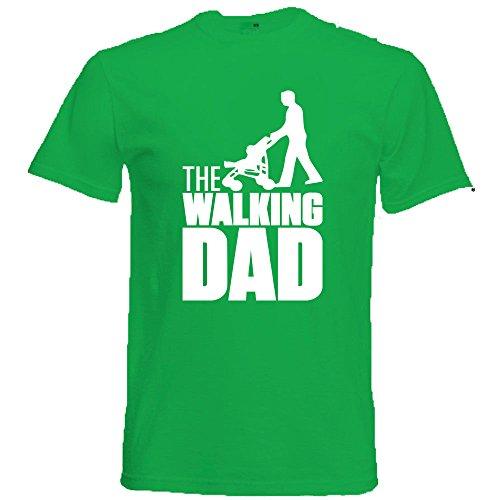 Generico t-shirt maglietta walking dad, colore verde chiaro, regalo unico per la festa del papa', cotone, manica corta, uomo