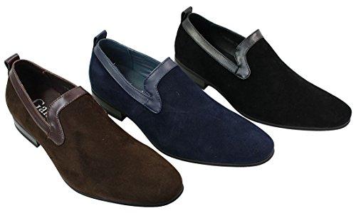 Couro Preto Chinelos Motorista Azul Masculinos Camurça Sapatos Sapatos Revestimento De Marrom w86IAnq