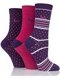 Ladies 3 Pair Pringle Rosie Dots Stripes and Plain Cotton Socks