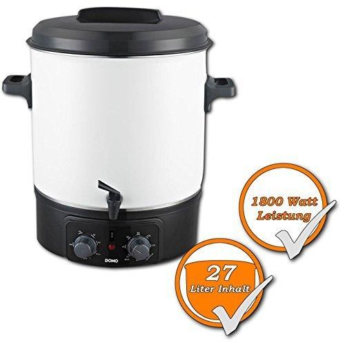 Elektrischer Einkochtopf, 27Liter Kessel, Einweckkochtopf mit Zapfhahn, Präzision-Thermostat (1800W), optimal als Glühweintopf oder für heißen Kakao