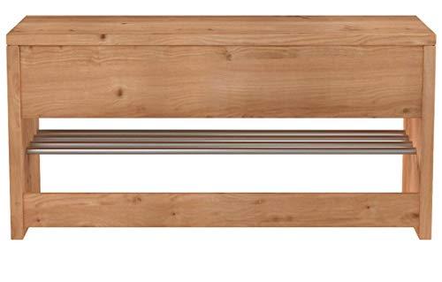 HomeTrends4You 801117 Garderobenbank / Schuhbank / Schuhregal Geo, Echtholz Kernbuche massiv geölt, Ablage Metall verchromt, 81x30cm, Höhe 40cm