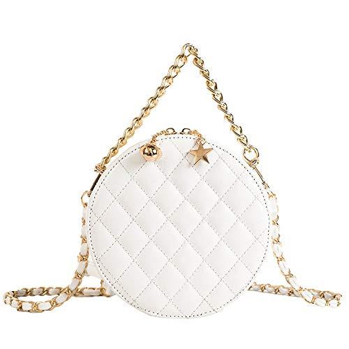 Ldyia TascheRunde mädchentasche rhombische umhängetasche baground bestickte Linie Tasche Mode Wilde Kette Schulter kleine runde Tasche, weiß