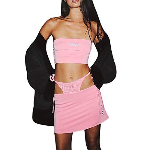 ZEZKT Damen Mode 2 Stück Set Outfits, Sommer Zweiteiler Frauen Fashion Solid Zwei Brief Druck Stück Bandage Strass Set Anzug Overalls-Kurze Hose aushöhlt Ärmellos Top und Slit Hosen Set -