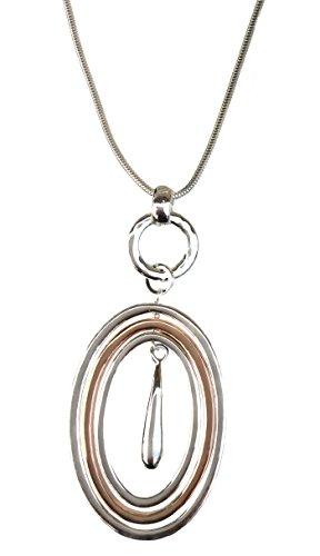 Ringe Anhänger auf eine lange Kostüm Schmuck Halskette für Frauen (Kostüm Schmuck Gold Ringe)