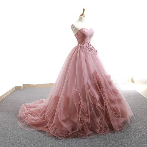 QAQBDBCKL Bean Rosa Gekräuselte Schleier Prinzessin Cosplay Wunderland Medieval Kleid Renaissance-Kleid Königin Victoria Belle Ball
