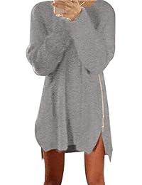 Amlaiworld Femmes Automne hiver Tricoté pull ample pull Mini robe à glissière latérale