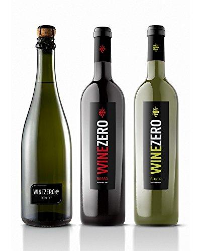 Winezero Confezione Degustazione - 1 bottiglia Rosso Dry, 1 bottiglia Bianco - Dry, 1 bottiglia Spumante Extra Dry - prodotto analcolico a base di vino dealcolato