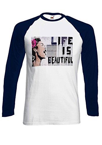 Banksy Life is Beautiful Street Art Novelty Black/White Men Women Damen Herren Langarm Unisex Baseball T Shirt Verschiedene Farben *Navy Blau
