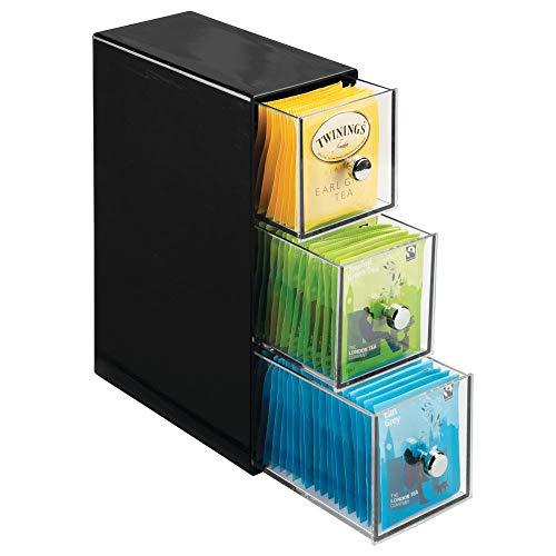 mDesign Küchen Organizer mit 3 Schubladen - Aufbewahrungsbox für Teebeutel, Kaffeepads, Süßungsmittel und mehr - Teekiste aus Kunststoff - schwarz