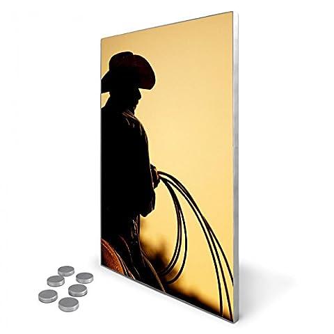 Edelstahl Magnettafel 35x50 cm inkl. 6 Magneten, Design Magnetwand für Küche und Büro, banjado Memoboard, beschreibbare Pinnwand mit Motiv Cowboy