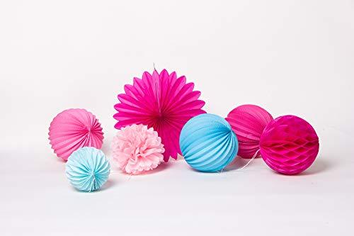 SUNBEAUTY 7er Set Rosa Pink Blau Kombination Feier Dekoration - 2