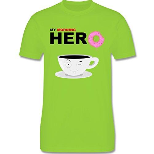 Küche - My morning hero - Coffee - Herren Premium T-Shirt Hellgrün