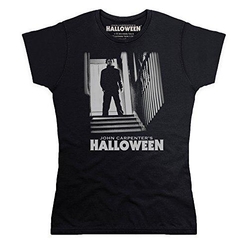 Official Halloween T-Shirt Michael Myers Stairs, Damen, Schwarz, S
