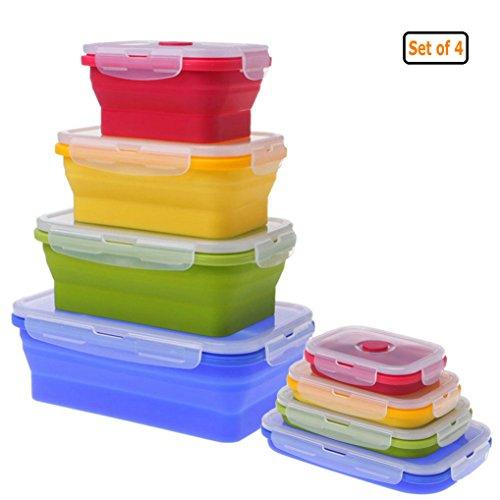 GuDoQi 4 Stück Food Clip und Close Frischhaltedosen Set 350/500/800/1200ml Zusammenklappbare Silizium BPA Frei Ofen und Gefrierschrank Sicher Geeignet, um Lebensmittel Frisch zu Halten