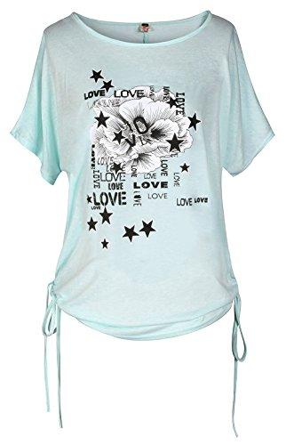 ELFIN® Damen Kurzarm T-shirt / Oberteile mit Blumen und Schmetterling Druck - Fledermaus Top Shirts Frauen Sommer Tunika Bluse