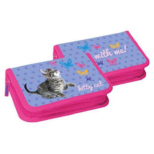 Preisvergleich Produktbild KITTY CAT Katze - Federmappe Schüleretui Federtasche Stiftetasche Federpanel mit 2 Klappen