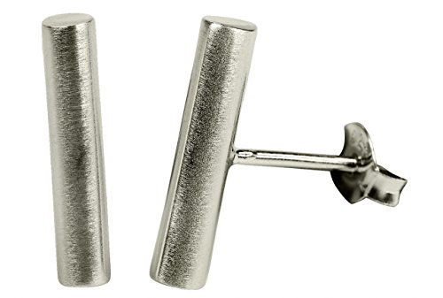 SILBERMOOS Damen Ohrstecker Stäbchen Stab Zylinder matt Sterling Silber 925 Ohrringe -