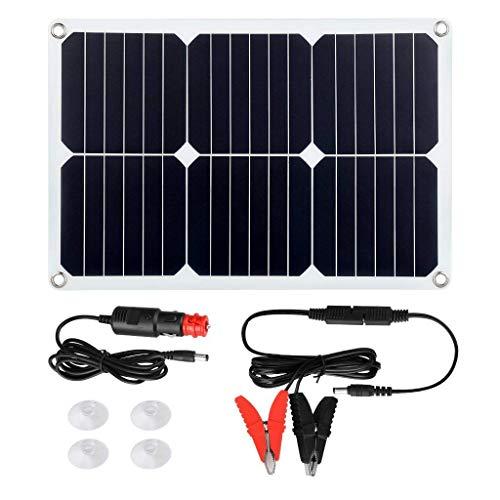 GRASSAIR 20W 18V Solar Panel Auto Ladegerät, Batteriehalter für Automotorrad mit Krokodilklemmen, Saugnäpfe Tragbarer Zigarettenanzünderstecker
