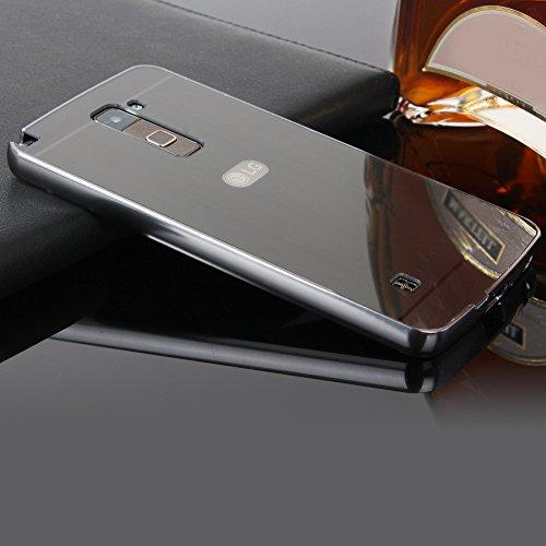 LG 2 LS775/G Stylo 2 K520 SpieHülle,BtDuck Silikon Metal Mirror Schutzhülle Handyhülle Mirror Protective Case Cover Glitzer Tasche Etui Bumper für LG 2 LS775/G Stylo 2 K520 - Schwarz
