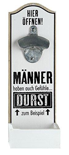 1 x Wand-Flaschenöffner MDF Metallöffner, Kronkorkensammler weiß/schwarz Höhe 30 cm, Wanddeko (Männer haben auch Gefühle...)