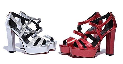 Beauqueen Piattaforma Open-Toe cinturini alla caviglia cuneo semplici donne casuali della spiaggia Lavoro eleganti sandali Europa Argento Rosso Dimensione 33-39 Silver